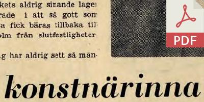 """Tidningsklipp """"konstnärinna"""""""
